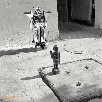 Fine art photo print Spirituality Buddha and Gundam conversation